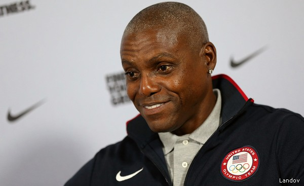 Image #: 18808947 (120731) -- LONDON, July 31, 2012 (Xinhua) -- American nine-time Olympic gold medalist Carl Lewis attends a press conference at London 2012 Olympic Games, London, Britain, July 31, 2012. (Xinhua/Li Ming) XINHUA /LANDOV